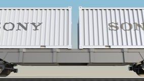 容器的铁路运输有索尼公司商标的 回报4K夹子的社论3D 库存例证