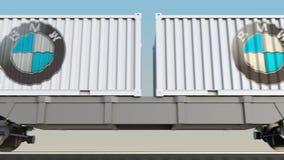 容器的铁路运输有BMW商标的 回报4K夹子的社论3D 库存例证