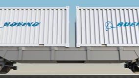 容器的铁路运输有Boeing Company商标的 回报4K夹子的社论3D 向量例证