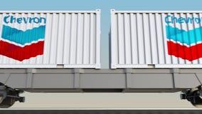 容器的铁路运输有Chevron Corporation商标的 回报4K夹子的社论3D 向量例证