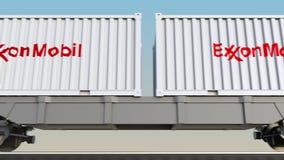 容器的铁路运输有ExxonMobil商标的 回报4K夹子的社论3D 库存例证