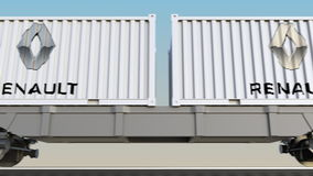容器的铁路运输有Groupe雷诺商标的 回报4K夹子的社论3D 向量例证