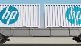 容器的铁路运输有HP的公司 徽标 回报4K夹子的社论3D 皇族释放例证