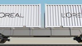容器的铁路运输有L的` Oreal商标 回报4K夹子的社论3D 皇族释放例证