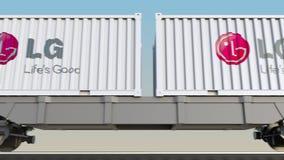 容器的铁路运输有LG Corporation商标的 回报4K夹子的社论3D 皇族释放例证