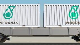 容器的铁路运输有Petroliam Nasional Berhad天然碱商标的 回报4K夹子的社论3D 皇族释放例证