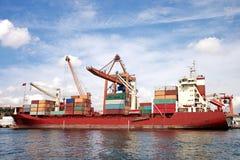 容器端口海运船 免版税图库摄影