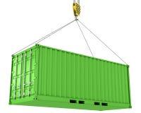 容器被卷扬的运费绿色 向量例证