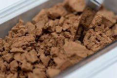 容器被击碎的牛奶巧克力 免版税图库摄影