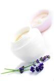容器装饰性的奶油色表面 免版税库存图片