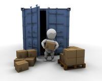 容器运费人员转存 库存例证