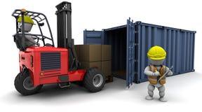 容器铲车装载人卡车 皇族释放例证