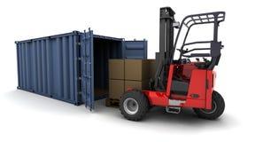 容器铲车装载卡车 向量例证