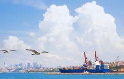 容器货物由起重机桥梁的货物船 免版税图库摄影
