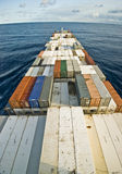 容器货船和天际 图库摄影
