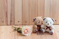 容忍在爱的夫妇熊提议允诺圆环 免版税库存照片