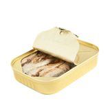 容易的开放沙丁鱼能与拉扯选项 库存照片