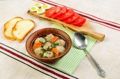 容易的饮食汤用白色圆的肉丸子 库存照片