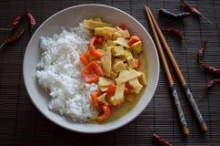 容易的素食泰国绿色咖喱汁用由红辣椒、辣椒,豆腐和笋做的印度大米 免版税图库摄影