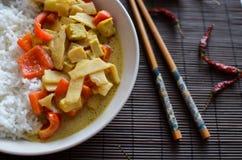 容易的素食泰国绿色咖喱汁用由红辣椒、辣椒,豆腐和笋做的印度大米 免版税库存照片