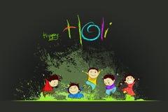 享用Holi的孩子 库存例证