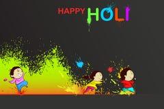 享用Holi的孩子 向量例证