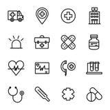容易编辑医疗保健图标图象医疗集导航 库存照片
