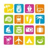 容易编辑图标映象集旅行向量 图库摄影