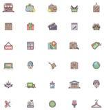 容易编辑图标集合购物导航 免版税库存图片