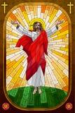 耶稣基督彩色玻璃绘画  图库摄影