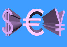容量美国,欧洲货币和日元的美元的符号  库存照片