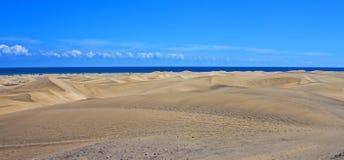 宽全景, Maspalomas沙丘 免版税库存图片