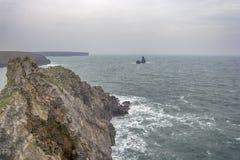 宽广的避风港南海滩Pembrokeshire威尔士英国 库存照片