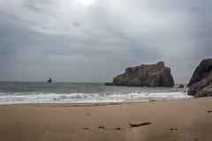 宽广的避风港南海滩Pembrokeshire威尔士英国 免版税库存图片