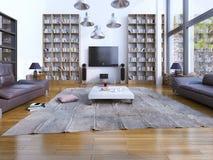 宽敞客厅设计有全景窗口的 免版税库存图片