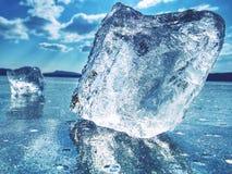 宽河在长的岁月以后结冰了由于冷冻 全球性变暖 免版税库存图片