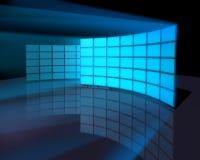 宽监控面板屏幕墙壁 库存图片