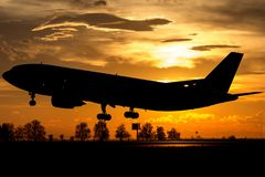 宽身体空中客车喷气机 图库摄影