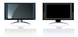 宽银幕平面式屏幕hd现代的电视 免版税库存图片