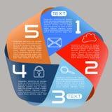 宽Infographics选择无限丝带明亮的五个选择 免版税库存照片
