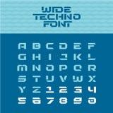 宽techno海报字体 几何有角字符 库存例证