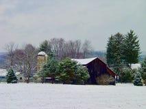 宾夕法尼亚农场在冬天 免版税库存照片