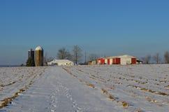 宾夕法尼亚农场在冬天 免版税图库摄影