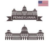 宾夕法尼亚的联邦 宾夕法尼亚状态国会大厦在哈里斯堡 皇族释放例证