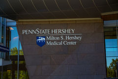 宾州州立大学赫尔希医院入口标志 免版税库存照片