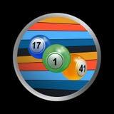 宾果游戏在镶边边界的抽奖球三重奏  免版税库存图片