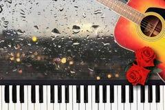 寂寞的浪漫爱情歌曲在雨天心情  免版税图库摄影
