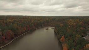 寂静的水湖寄生虫空中录影在罗利NC附近的 股票录像