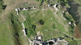 寄生虫从一座美丽的古老城堡的footDrone英尺长度在小山Csobanc在从一座美丽的古老城堡的Hungaryage在h 股票录像