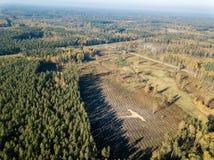 寄生虫图象 乡区鸟瞰图与领域和森林的我 库存图片